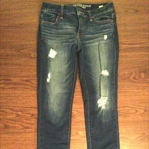 American Eagle Blue Jean Jeggings with Holes 10